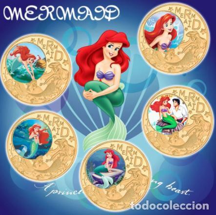 COLECCION 5 MONEDAS LA SIRENITA - 1989 - ORO 24KT (Numismática - Medallería - Temática)