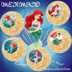 Medallas temáticas: COLECCION 5 MONEDAS LA SIRENITA - 1989 - ORO 24KT. Lote 216413932