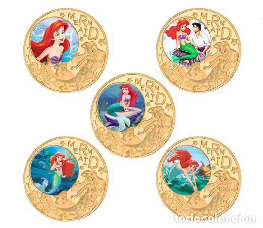 Medallas temáticas: COLECCION 5 MONEDAS LA SIRENITA - 1989 - ORO 24KT - Foto 2 - 216413932