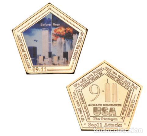 MONEDA ESPECIAL ATENTADO TORRES GEMELAS 11S - COLECCION - ORO 24KT (Numismática - Medallería - Temática)