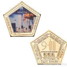 Medallas temáticas: MONEDA ESPECIAL ATENTADO TORRES GEMELAS 11S - COLECCION - ORO 24KT. Lote 216414770