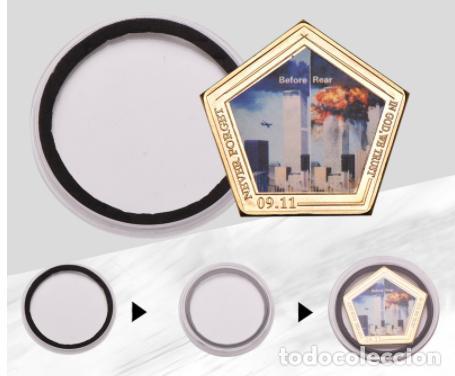 Medallas temáticas: MONEDA ESPECIAL ATENTADO TORRES GEMELAS 11S - COLECCION - ORO 24KT - Foto 3 - 216414770