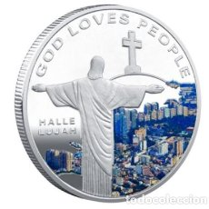 Medallas temáticas: MONEDA CONMEMORATIVA CRISTO REDENTOR - RIO JANEIRO - ALELUYA - PLATA. Lote 216491748