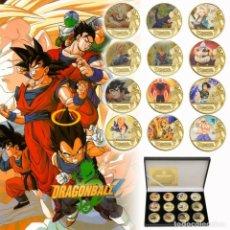 Medaglie tematiches: MONEDAS DE ORO BAÑADO 12 UNID DRAGON BALL Z GOKU VEGETA FRIEZA SUPER SAIYAN MONEDA EN CAJA DE REGALO. Lote 232331085