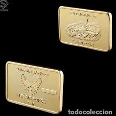 Medallas temáticas: LINGOTE FUERZAS ARMADAS F16 - ORO 24KT - 1976 - FALCON - EDICION LIMITADA. Lote 219169318