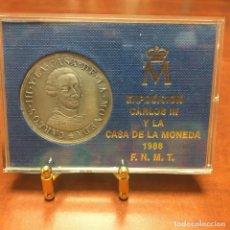 Medallas temáticas: MEDALLA COBRE EXPOSICION CARLOS III Y LA CASA DE LA MONEDA (PATINA DE PLATA). Lote 219302642