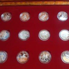 Medalhas temáticas: SIGNOS DEL ZODIACO. 12 MEDALLAS DE PLATA PURA. Lote 220747356