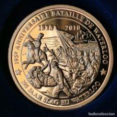 Médailles thématiques: AA165. BAÑO DE ORO 24KT. MUY ESCASA. GODE®. 159 ANIVERSARIO BATALLA DE WATERLOO. 2010. 12,4G / 30MM. Lote 224063527