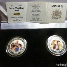 Medallas temáticas: SOMALIA. 2 MONEDAS ENLACE FELIPE Y LETIZIA 2004 EN PLATA. Lote 224871630