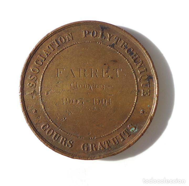 Medallas temáticas: ASSOCIATION POLYTECHNIQUE. ASOCIACIÓN POLITECNICA. CURSO GRATUITO.1903-1904. - Foto 2 - 226131970