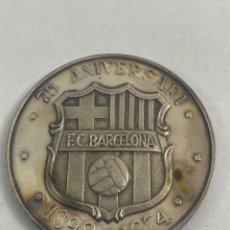 Medalhas temáticas: JOY-1444. MEDALLA DE FUTBOL CLUB BARCELONA DE PLATA. 75 ANIVERSARI.. Lote 226293621