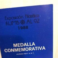 Medallas temáticas: MEDALLA CONMEMORATIVA EXPO '92, NUMERADA.. Lote 228412970