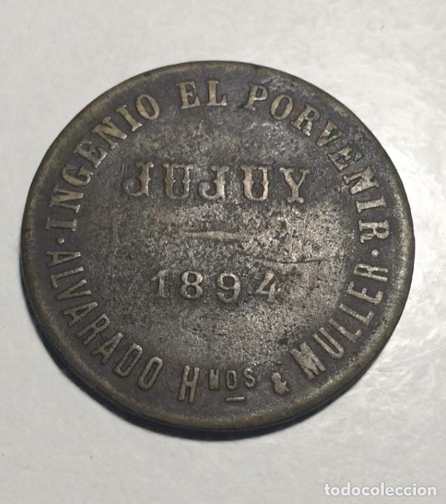 """Medallas temáticas: Ficha / moneda """"Vale por un día de trabajo"""". Ingenio el Porvenir. Jujuy - Argentina 1894 - Foto 2 - 232045200"""