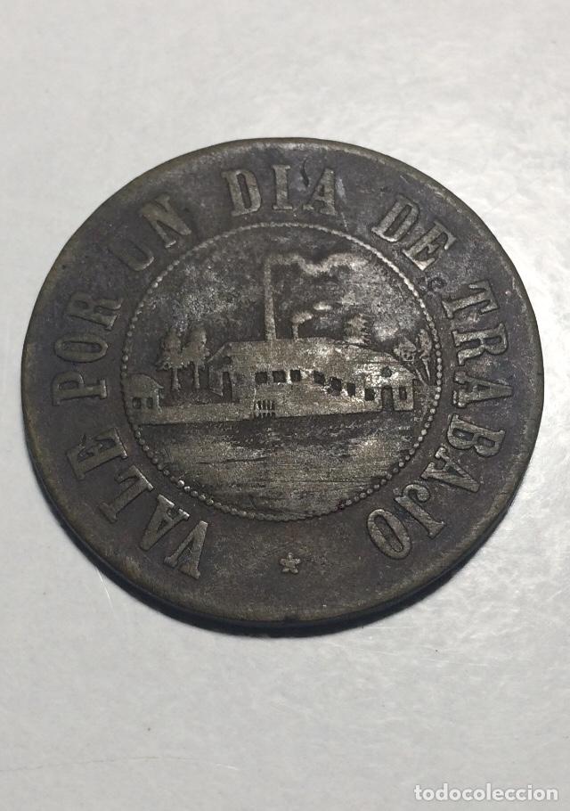 """FICHA / MONEDA """"VALE POR UN DÍA DE TRABAJO"""". INGENIO EL PORVENIR. JUJUY - ARGENTINA 1894 (Numismática - Medallería - Temática)"""