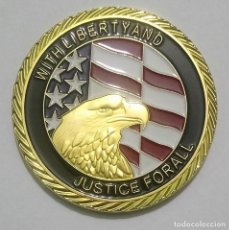 Medallas temáticas: PRECIOSA MONEDA ORO 24 KT CONMEMORATIVA NUEVA YORK ATENTADO DE LAS TORRES GEMELAS 11/09/2001. Lote 199946652