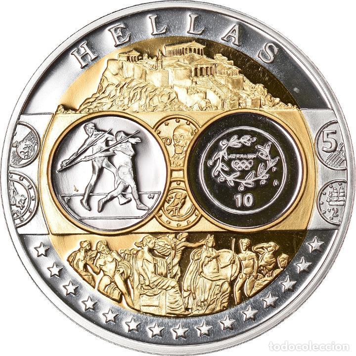 GRECIA, MEDALLA, EURO, EUROPA, FDC, PLATA (Numismática - Medallería - Temática)