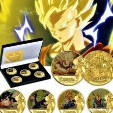 Medallas temáticas: LOTE 5 MONEDAS DRAGON BALL Z - GOKU - BAÑADO EN ORO 24KT - EDICION LIMITADA. Lote 235858000