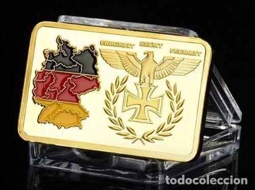 LINGOTE ORO III REICH REUNIFICACION ALEMANIA Y CRUZ DE HIERRO (Numismática - Medallería - Temática)