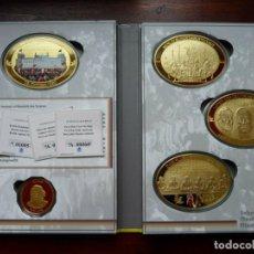 Medallas temáticas: COLECCION COMPLETA DE 4 MEDALLONES XXL AL 25 ANIVERSARIO DE LA CAIDA DEL MURO DE BERLIN ALEMANIA. Lote 236360625