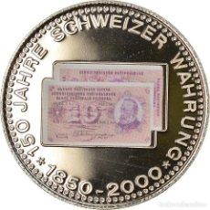 Medallas temáticas: SUIZA, MEDALLA, 150 ANS DE LA MONNAIE SUISSE, 10 FRANCS, 2000, SC+, COBRE -. Lote 236379430