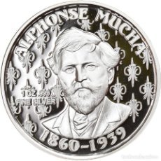Medallas temáticas: CHECOSLOVAQUIA, MEDALLA, ALPHONSE MUCHA, ONE TROY OUNCE SILVER PROOF, ARTS &. Lote 236380310