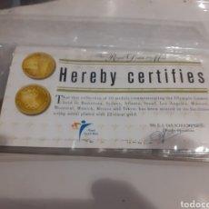 Medallas temáticas: COLECCIÓN COMPLETA DE 10 MEDALLAS BAÑADAS EN ORO DE 22KILATES CON CERTIFICADO. Lote 236415115