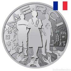 """Medallas temáticas: MEDALLA """"MERCI"""" A LOS PROFESIONALES ESENCIALES LUCHA COVID 19.MONNAIE PARÍS.FRANCIA.34MM.PLATEADA. Lote 237720450"""