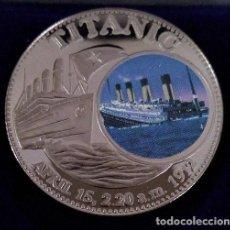 Medallas temáticas: BONITA MONEDA CONMEMORATIVA AL HUNDIMIENTO DEL TITANIC CON IMAGEN DEL MOMENTO. Lote 238252470