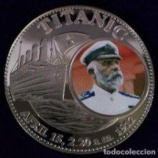 Medallas temáticas: BONITA MONEDA CONMEMORATIVA AL HUNDIMIENTO DEL TITANIC CON IMAGEN DEL CAPITÁN. Lote 238446855