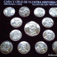 Medallas temáticas: COLECCIÓN 13 MEDALLAS. CARA Y CRUZ DE NUESTRA HISTORIA II. GRANADA 1995 (PLATA LEY 925) Y FICHAS.. Lote 224394790