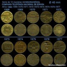 Medaglie tematiches: SERIE DE 10 MEDALLAS CONMEMORATIVAS - COMPAÑÍA TELEFÓNICA NACIONAL DE ESPAÑA - REF90. Lote 238642895