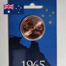 Medallas temáticas: PENNY 1965 TOKEN.AUSTRALIA.CANGURO.CONMEMORATIVA NACIDOS EN 1965. Lote 239993235