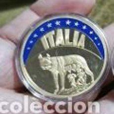 Medallas temáticas: 1993 ITALIA ITALIA ECU 1993 ROMULUS & REMUS CU-NI CHAPADO EN ORO COLOR PRUEBA 40 MM. Lote 240026585