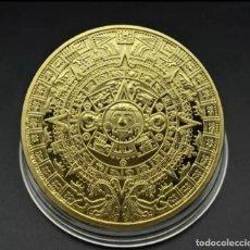 Medaglie tematiches: MONEDA DE MEMORIA MAYA, PIRAMIDES, ORO AZTECA DE MÉXICO GOLD PLATED - 38.MM DIAMETRO. Lote 243311930
