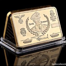 Medalhas temáticas: LINGOTE ORO 24K ALEMANIA DE ERWIN ROMMEL CON SU FIRMA DEUTSCHE WEHRMAC CONCHAS QUINTERO .. Lote 243943315