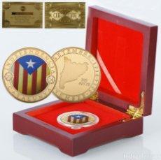 Medalhas temáticas: MONEDA ORO INDEPENDIENCIA DE CATALUÑA 2014 GOLD PLATED EN CAJA + CERTIFICADO. Lote 243943710