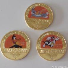 Medalhas temáticas: 3 EXCLUSIVAS MONEDAS DE LA COLECCIÓN DE BUGS BUNNY. VINTAGE LIMITED EDITION.. Lote 244202350