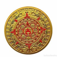 Medalhas temáticas: MONEDA DE MEMORIA MAYA, PIRAMIDES, ORO AZTECA DE MÉXICO GOLD PLATED - 38.MM DIAMETRO. Lote 244468925