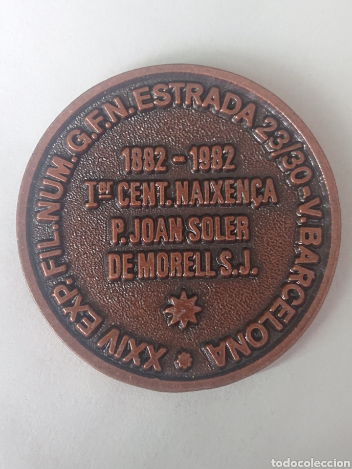Medallas temáticas: MEDALLA JOAN SOLER DE MORELL XXIV EXP. FIL. NUM G.F.N. ESTRADA BARCELONA 1982 - Foto 2 - 245397145