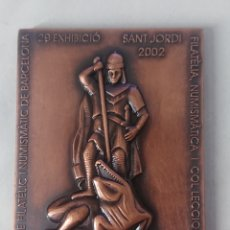 Medalhas temáticas: MEDALLA 29 EXHIBICIO FILATELICA I NUMISMATICA GENERALITAT DE CATALUNYA BARCELONA SANT JORDI 2002. Lote 245987045