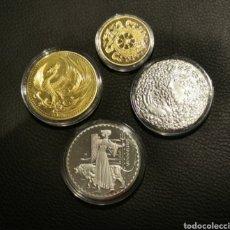 Medallas temáticas: LOTE DE 4 MONEDAS / MEDALLAS CON BAÑO DE ORO Y PLATA. Lote 246072400