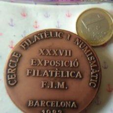 Medallas temáticas: CERCLE FILATELIC I NUMISMÁTIC BARÓ DE VIVER, FILATELIA BARCELONA 1983.50MM×67GR.BRONCE. Lote 248641390