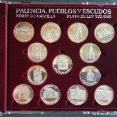 Medaglie tematiches: ARRAS DE PALENCIA PUEBLOS Y ESCUDOS, 13 PIEZAS DE PLATA. Lote 251811975