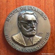 Medallas temáticas: MIGUEL DE UNAMUNO. MEDALLA DEL CINCUENTENARIO DE SU MUERTE. AÑO 1986. Lote 258176450