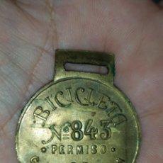 Medaglie tematiches: CHAPA PLACA MEDALLA - PERMISO CIRCULACIÓN DE BICICLETA - AYUNTAMIENTO DE MALAGA AÑO 1924 / 25. Lote 258787425