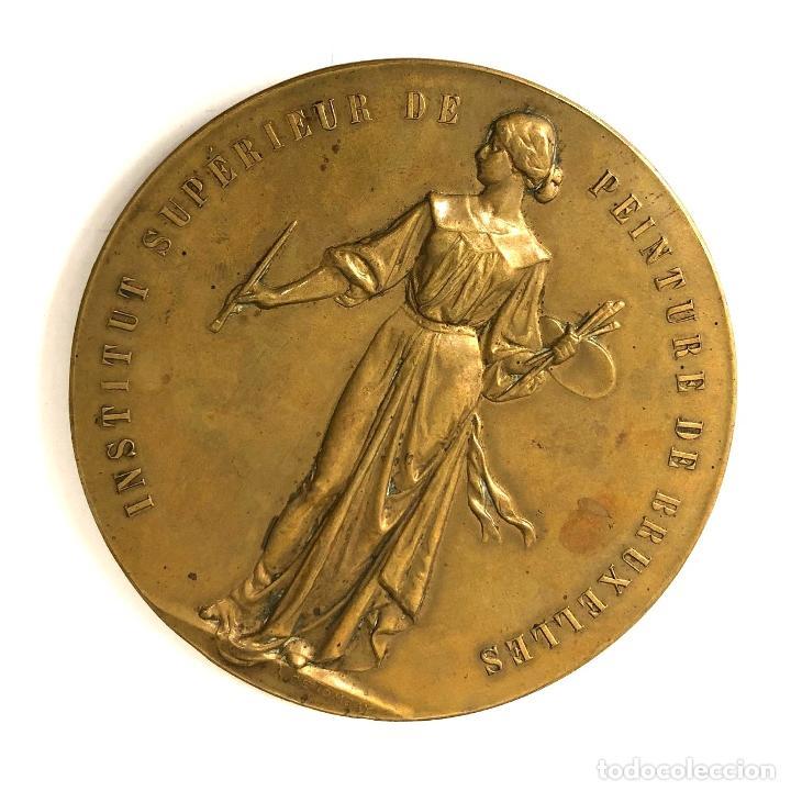 Medallas temáticas: MEDALLA INSTITUT SUPÉRIEUR DE PEINTURE DE BRUXELLES. GRABADOR A. DE TOMBAY. C. 1925 - Foto 2 - 260047055