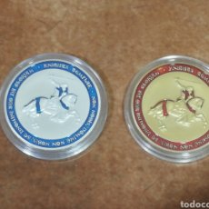Medallas temáticas: LOTE DE 2 MONEDAS CONMEMORATIVA CABALLEROS TEMPLARIOS DORADA Y PLATEADA. Lote 260713585