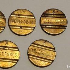 Medallas temáticas: LOTE 5 FICHAS PARA CABINAS DE TELÉFONO - X. Lote 263104975