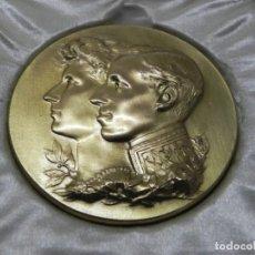 Medallas temáticas: MEDALLA BRONCE DORADO DE LA EXPOSICIÓN HISPANO FRANCESA EN ZARAGOZA ALFONSO XIII Y VICTORIA EUGENIA. Lote 265679444