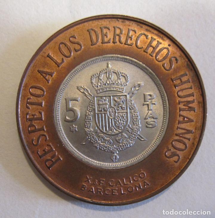 MONEDA MEDALLA RESPETO A LOS DERECHOS HUMANOS / REINCORPORACIÓN INTERNACIONAL DE ESPAÑA 1975 (Numismática - Medallería - Temática)